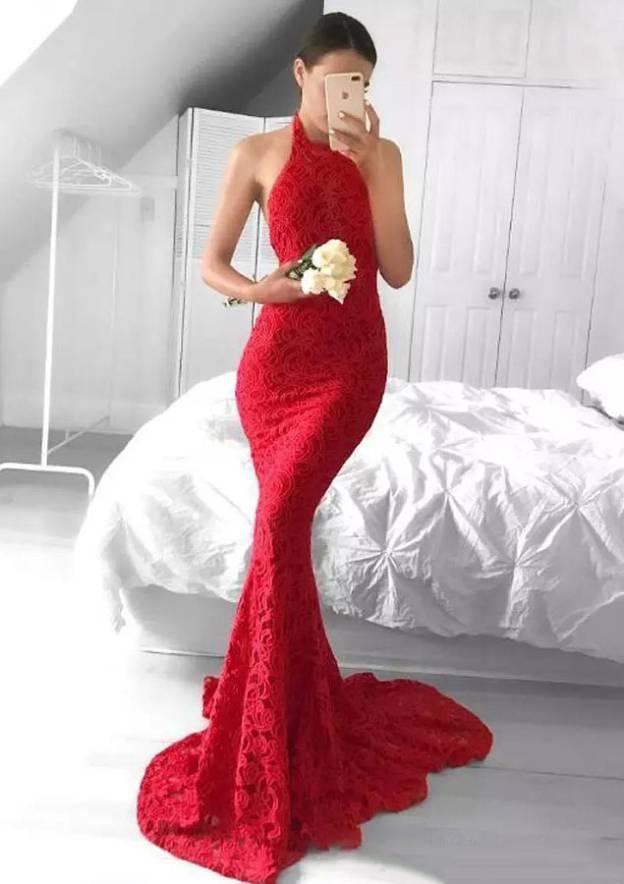 7e0e764747 Trumpet Mermaid Halter Sleeveless Sweep Train Lace Evening Dress