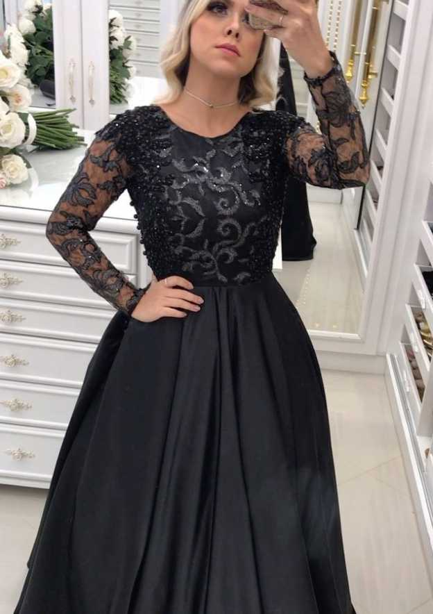 6ee949a6e91 A-line Princess Scoop Neck Full Long Sleeve Long Floor-Length Satin Prom  Dress With Appliqued Beading