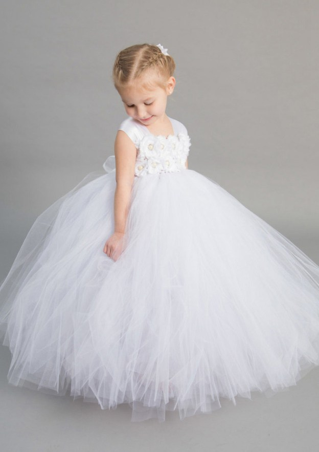 c3a39b907 A-Line/Princess Sleeveless Square Neckline Long/Floor-Length Tulle Flower  Girl Dress With Appliqued
