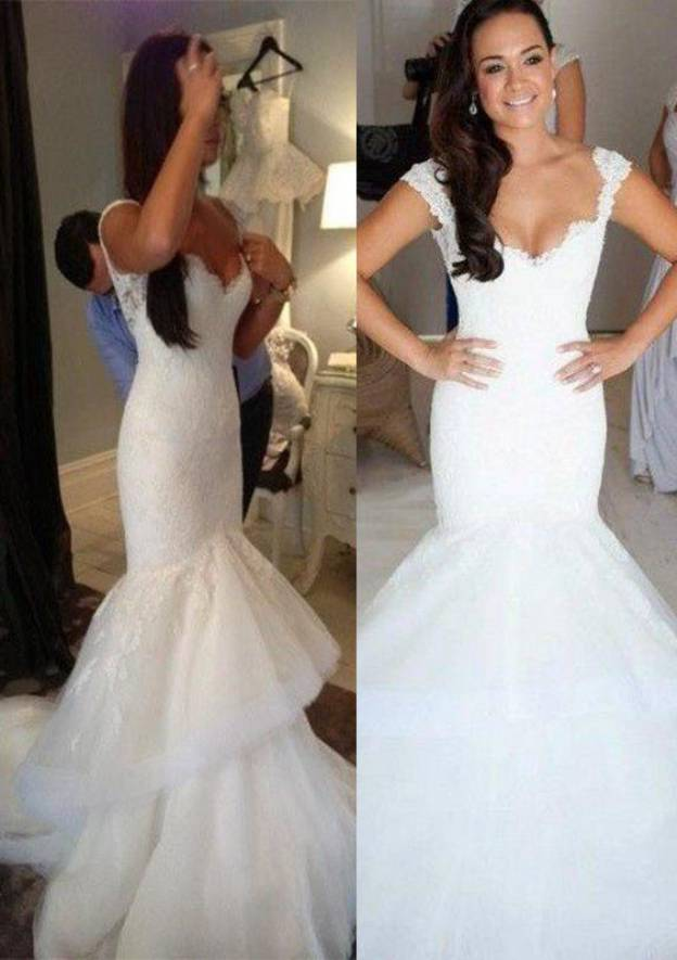 688ea82d Trumpet/Mermaid Scalloped Neck Sleeveless Court Train Tulle Wedding Dress  With Lace Ruffles