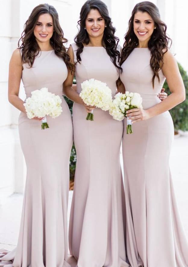 6881d45c72 Sheath/Column Bateau Sleeveless Sweep Train Elastic Satin Bridesmaid  Dresses With Pleated