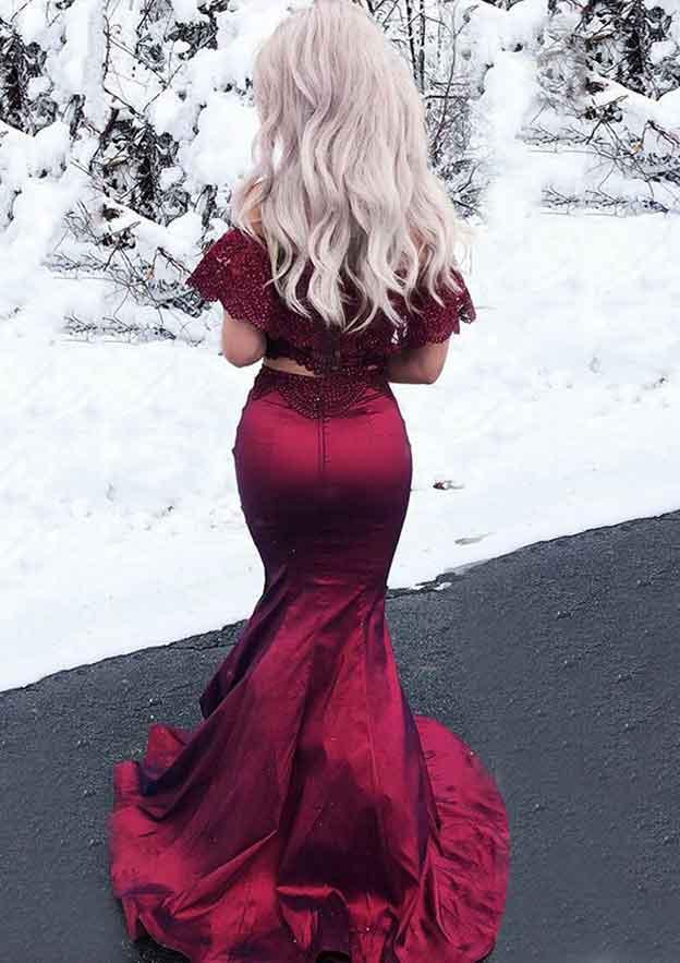 246090bda4f Satin Prom Dress A-Line Princess Scoop Neck Long Floor-Length With Beaded