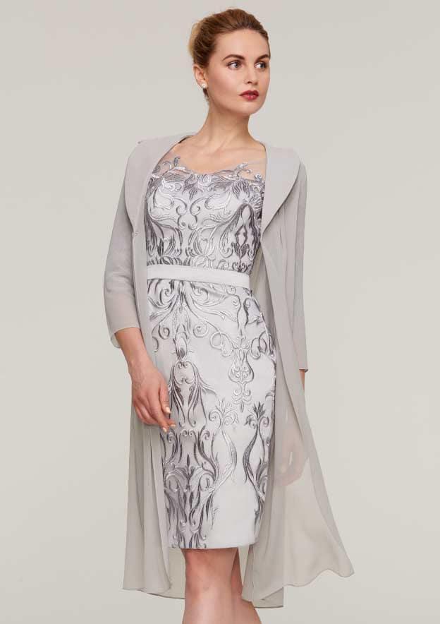0622811262 Sheath Column V Neck 3 4 Sleeve Knee-Length Chiffon Mother of the Bride  Dress With Jacket Appliqued Waistband