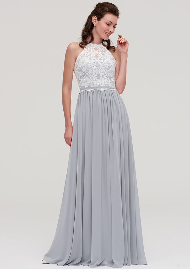 be74ba0707f3 A-line/Princess Scoop Neck Sleeveless Long/Floor-Length Chiffon Bridesmaid  Dresses With Lace