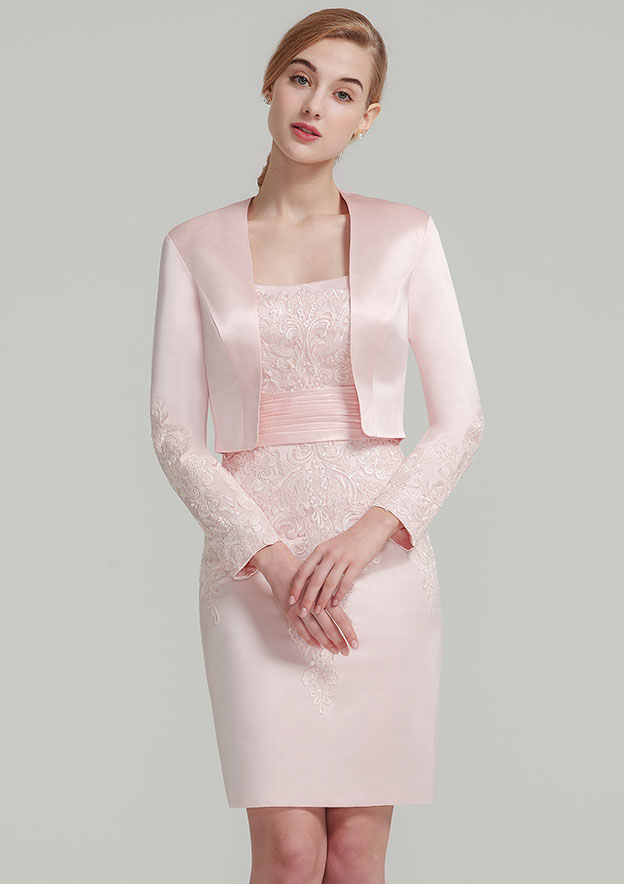8f8cda00 Sheath/Column Square Neckline Sleeveless Knee-Length Satin Mother of the Bride  Dress With Jacket Appliqued Pleated